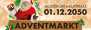 Werbebanner Adventmarkt Santa Clause Gold