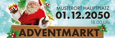 Werbebanner Adventmarkt Santa Clause Hellblau