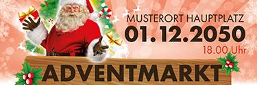 Werbebanner Adventmarkt Santa Clause Rot