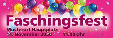 Werbebanner Fasching Flying Balloons Rosa