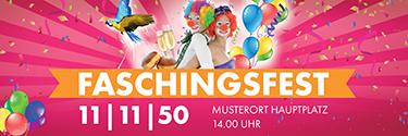 Werbebanner Faschingsfest Clowns Pink
