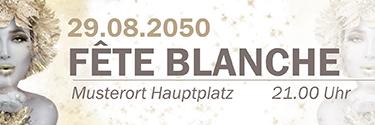 Werbebanner Fete Blanche Eiskoenigin Gold