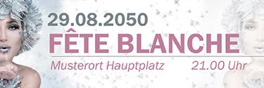 Werbebanner Fete Blanche Eiskoenigin Silber