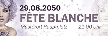 Werbebanner Fete Blanche Eiskoenigin Violett