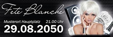 Werbebanner Fete Blanche Floral Schwarz