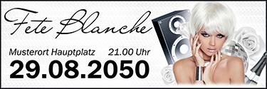 Werbebanner Fete Blanche Floral Weiss