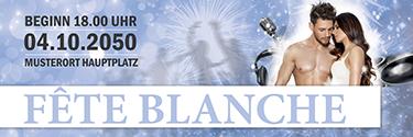 Werbebanner Fete Blanche Paar Blau