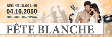 Werbebanner Fete Blanche Paar Orange