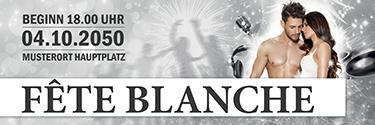 Werbebanner Fete Blanche Paar Silber