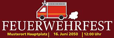 Werbebanner Feuerwehrfest Auto Braun