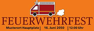 Werbebanner Feuerwehrfest Auto Orange