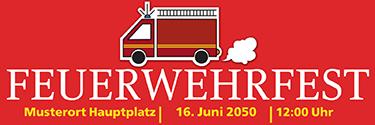 Werbebanner Feuerwehrfest Auto Rot