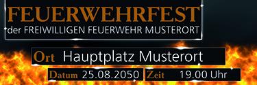 Werbebanner Feuerwehrfest Fire Dept Orange