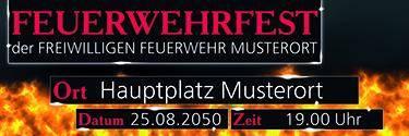 Werbebanner Feuerwehrfest Fire Dept Rot