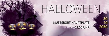 Werbebanner Halloween Hand Violett
