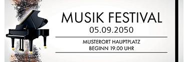 Werbebanner Musik Melody Schwarz