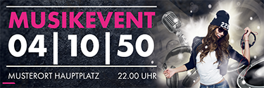Werbebanner Musikevent Party Pink