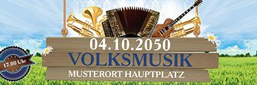 Werbebanner Musikfest Instrumente Blau