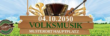 Werbebanner Musikfest Instrumente Gruen