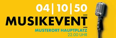 Werbebanner Musikfest Mikrofon Gelb