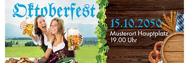 Werbebanner Oktoberfest Blau 140x400