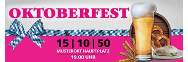 Werbebanner Oktoberfest Craft Beer Pink 140x400