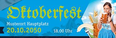 Werbebanner Oktoberfest Dirndl Blau