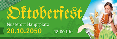 Werbebanner Oktoberfest Dirndl Gruen