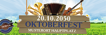 Werbebanner Oktoberfest Instrumente blau