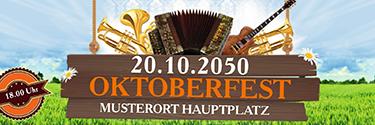 Werbebanner Oktoberfest Instrumente orange