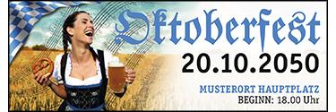 Werbebanner Oktoberfest Noten Blau 400x140