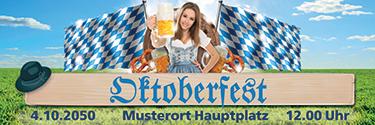 Werbebanner Oktoberfest Tracht Blau