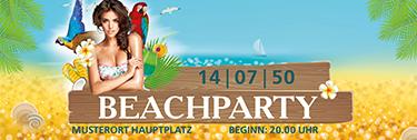 Werbebanner Sommerfest Meeresbrise Tuerkis