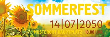 Werbebanner Sommerfest Sonnenblume Gelb