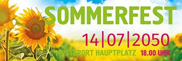Werbebanner Sommerfest Sonnenblume Grün
