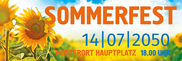 Werbebanner Sommerfest Sonnenblume Orange