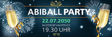 Werbebanner Abiball Feuerwerk Blau