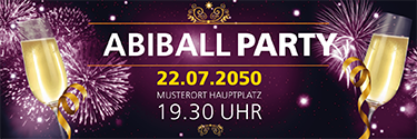 Werbebanner Abiball Feuerwerk Violett