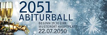 Werbebanner Abiball Goldrausch Blau