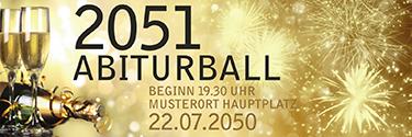 Werbebanner Abiball Goldrausch Gold