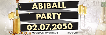Werbebanner Abiball Sektflasche gold
