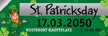 Werbebanner St. Patricks Day Leprechaun Weiss