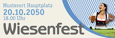Werbebanner Wiesenfest Kornfeld Blau
