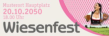 Werbebanner Wiesenfest Kornfeld Pink