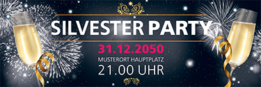 Werbebanner Silvester Feuerwerk Schwarz
