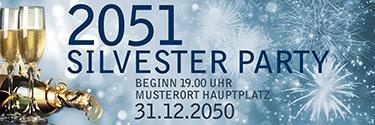 Werbebanner Silvester Goldrausch Blau
