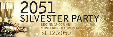 Werbebanner Silvester Goldrausch Gold