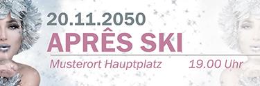 Werbebanner Apres Ski Eiskoenigin Silber