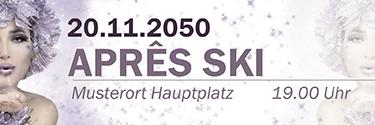 Werbebanner Apres Ski Eiskoenigin Violett
