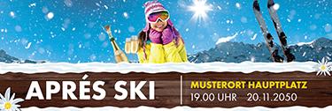 Werbebanner Apres Ski Huette Gelb